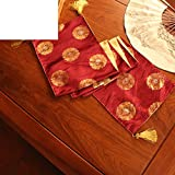 Chinese style wind table table flag,new classical brocade coffee table flag fabric bed flag-D 33x240cm(13x94inch)