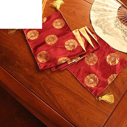 Chinese style wind table table flag,new classical brocade coffee table flag fabric bed flag-D 33x240cm(13x94inch) ()