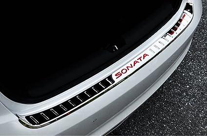 Salusy Outer Rear Bumper Sill Plate Protector Guard Cover Pad For Hyundai Sonata 2015 2016 2017 Red Logo