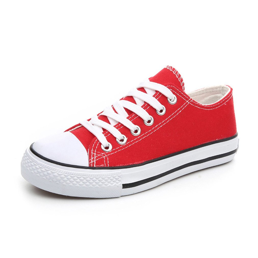 Deesaly Women's Canvas Classic Lace Up Plimsoll Flat Shoes Trainers Sneakers B076FKC4YF 7 B(M) US Red