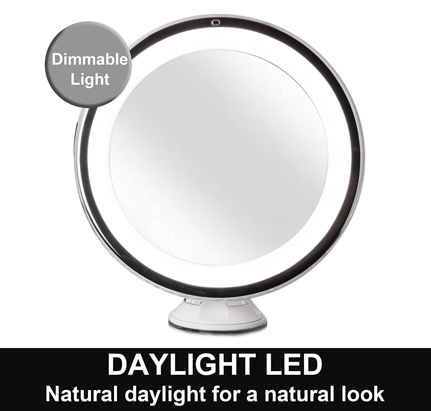 Fancii Daylight LED 10X Magnifying Makeup Mirror - 8.0 Large Lighted Travel Vanity Mirror - Dimmable Light, Cordless, Battery Operated, Locking Suction, 360 Rotation, Portable /& Illuminated TYT FC-LMMM10X
