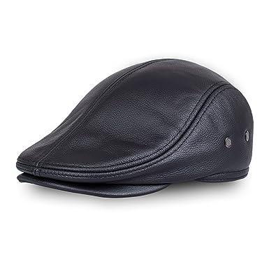 expédition gratuite profiter du meilleur prix trouver le travail VEMOLLA Bonnet pour Homme en Cuir Véritable De Vache Béret De Chasse  Casquette De Camionneur Chapeau De Sports pour Hommes