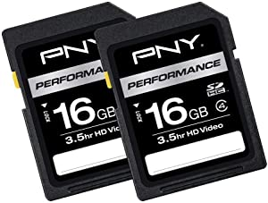 PNY 16GB 2-Pack Performance Class 4 SD Card – (P-SDHC16G4X2-GE)