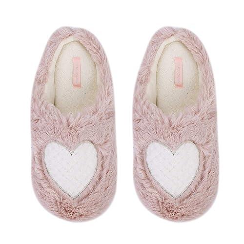 e478b0969ffd4 Heart House Slippers, Women Fuzzy Plush Warm Winter House Shoes Ladies  Slipper with Memory Foam