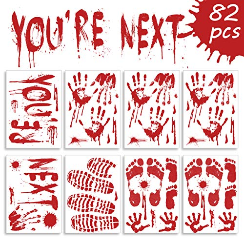 Pawliss Halloween Window Decals Wall Stickers Decor, Bloody Handprint Footprint Horror Bathroom Zombie Party Decorations Supplies, 12-Inch by 17-Inch Sheet, 82Pcs]()