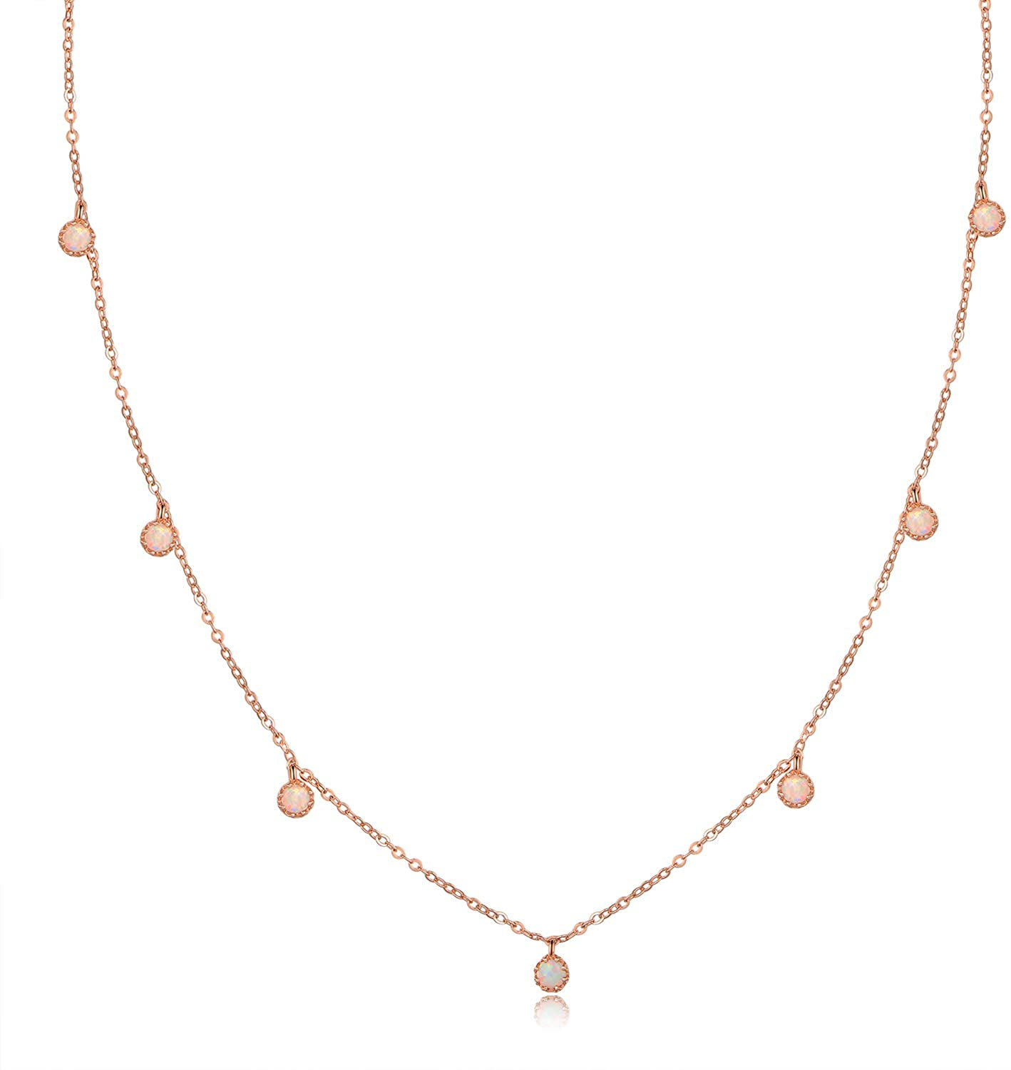 Barzel 18K White Gold & 18K Rose Gold with Created Fire Opal Necklaces