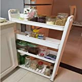Trademark 823LSS 3Tier Slim Slide Out Pantry on Rollers White