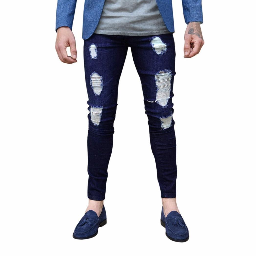 Realdo Mens Skinny Tear Hole Jeans, Casual Solid Cotton Denim Slim Party Pants(Deep Blue,X-Large)