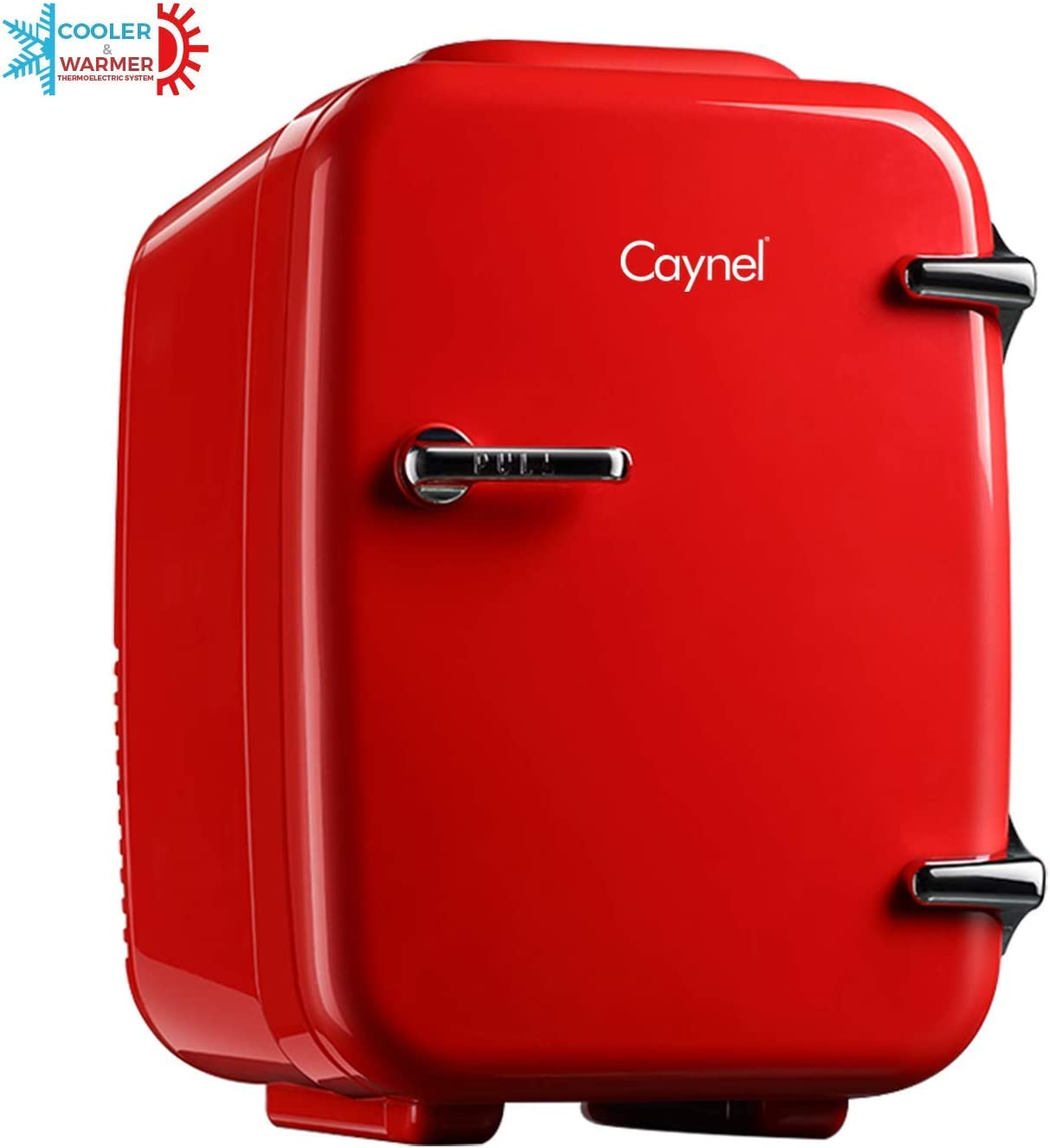 CAYNEL Mini Fridge Cooler and Warmer, (4Liter / 6Can) Portable Compact Personal Fridge, AC/DC Thermoelectric System, 100% Freon-Free Eco Friendly for Home, Office and Car (Cherry Red)