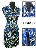 Coac3 Navy Blue Chinese Traditional Women Dress Silk Satin Cheongsam Sexy V-Neck Qipao Floral Size S M L XL XXL XXXL