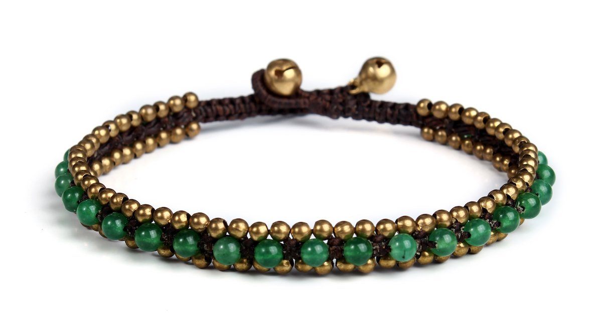 Lannaclothesdesign Womens Beaded Anklet with Brass Beads Adjustable 9.5'' (Green Aventurine)