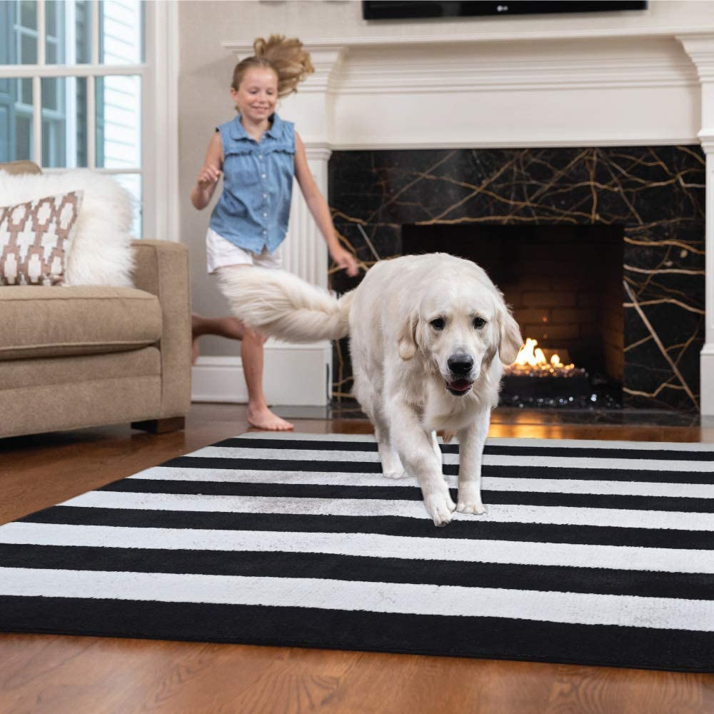 GORILLA GRIP Original Faux-Chinchilla Runner Rug, 2x8 FT, Many Colors, Soft and Cozy High Pile Washable Carpet, Modern Floor Rugs, Luxury Shag Carpets for Bed, Living Room, Stripe: Black and White