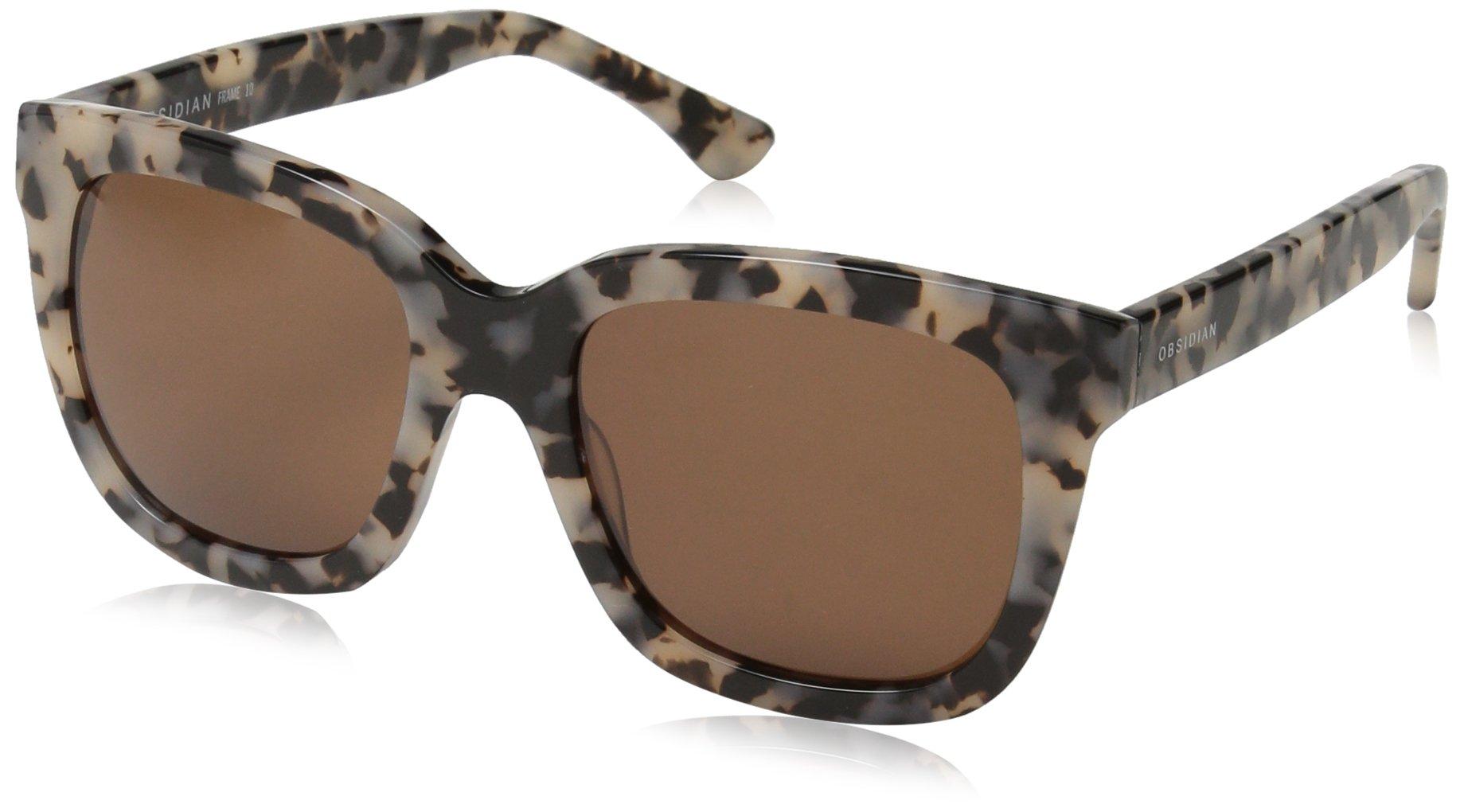Obsidian Sunglasses for Women Fashion Oversized Frame 10, Black/Cream Tortoise, 54 mm