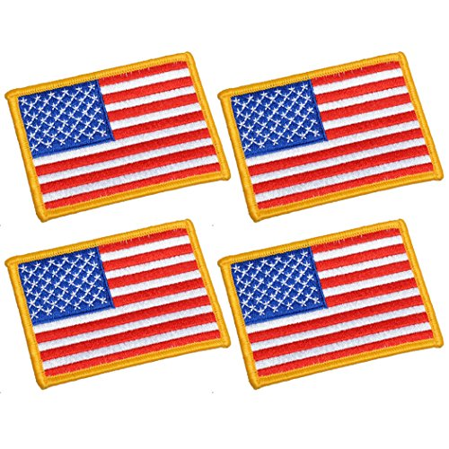 4 Pack, 3.5 X 2.5. Inch American US Flag Embroidered Cloth Sew on Iron on Patch Golden Yellow Border.