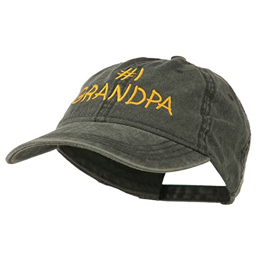 cac30f1c207 Number 1 Grandpa Letters Embroidered Washed Cotton Cap - Black OSFM ...