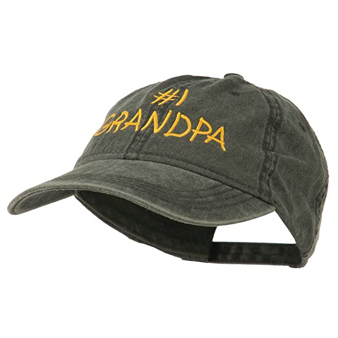 d19fc1fe Number 1 Grandpa Letters Embroidered Washed Cotton Cap - Black OSFM ...