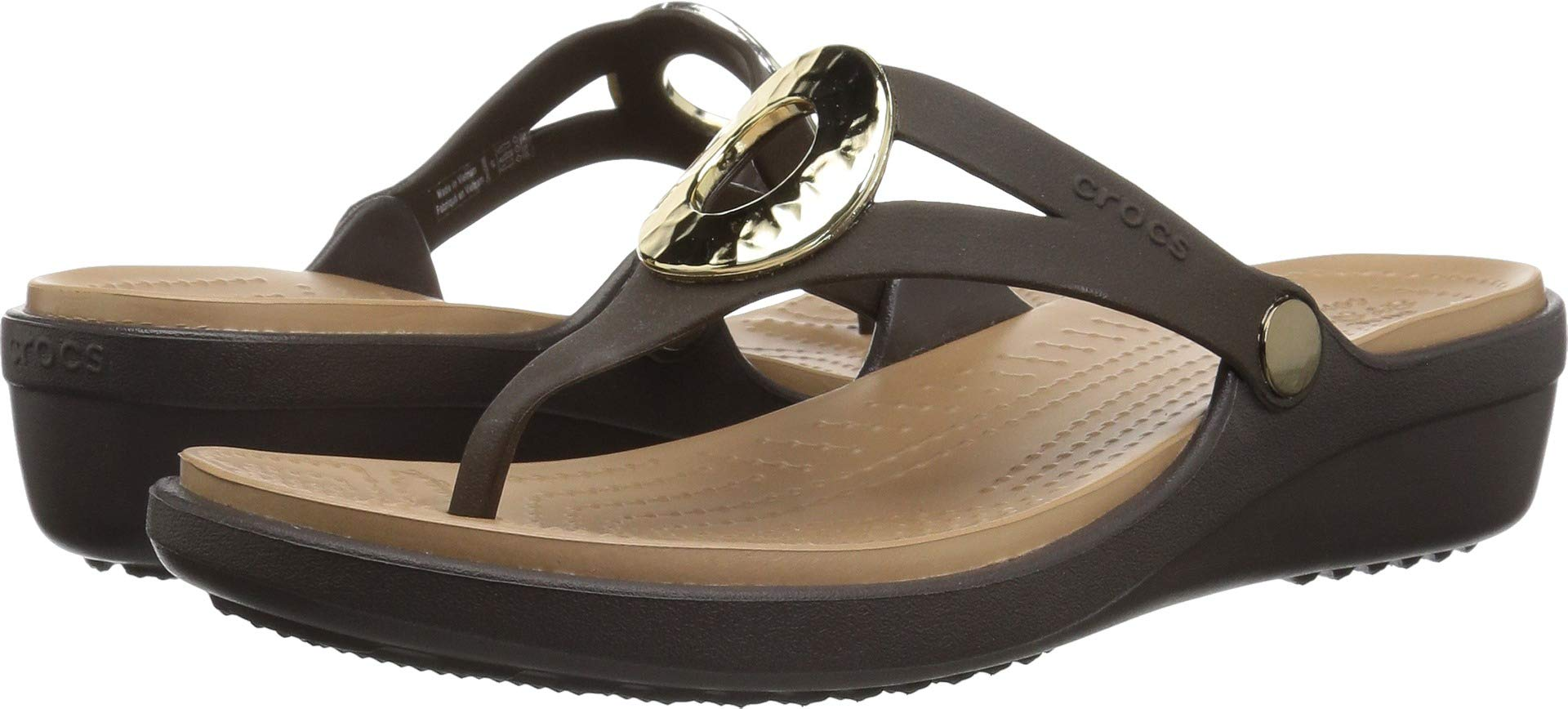 Crocs Women's Sanrah Hammered Met Flip Wedge Sandal, Espresso/Gold, W8 M US