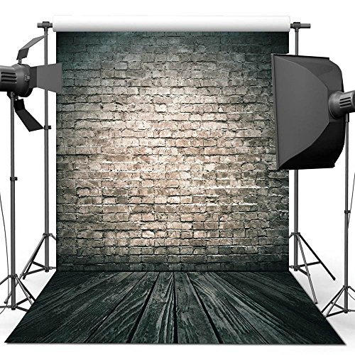 econious Photography Backdrop, 5x7ft Antique Brick Wall Wood Floor Backdrop for Studio Props Photo Backdrop