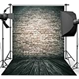 ANVOT Photography Backdrop, 5x7 ft Antique Brick Wall Wood Floor Backdrop For Studio Props Photo Backdrop