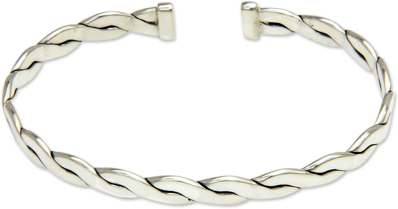 NOVICA Men's .925 Sterling Silver Cuff Bracelet 'Surging Surf'