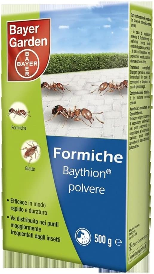 Bayer insecticida para Hormigas, EN Polvo baythion Gramos 500 huerto y jardín, Multicolor, única: Amazon.es: Hogar