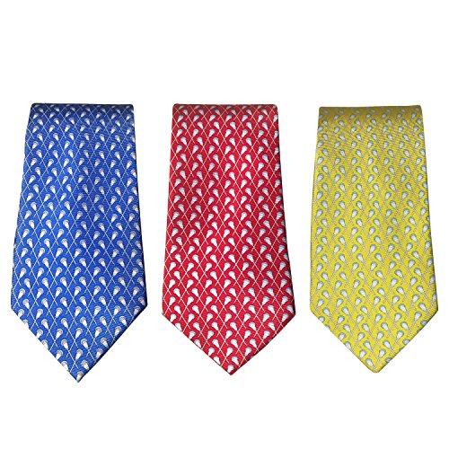 Designer Neck Tie - Lacrosse Silk Necktie Boy's Tie - 100% Silk Lacrosse Gift Designer Sports Neck Tie (Crossed Sticks) – Yellow