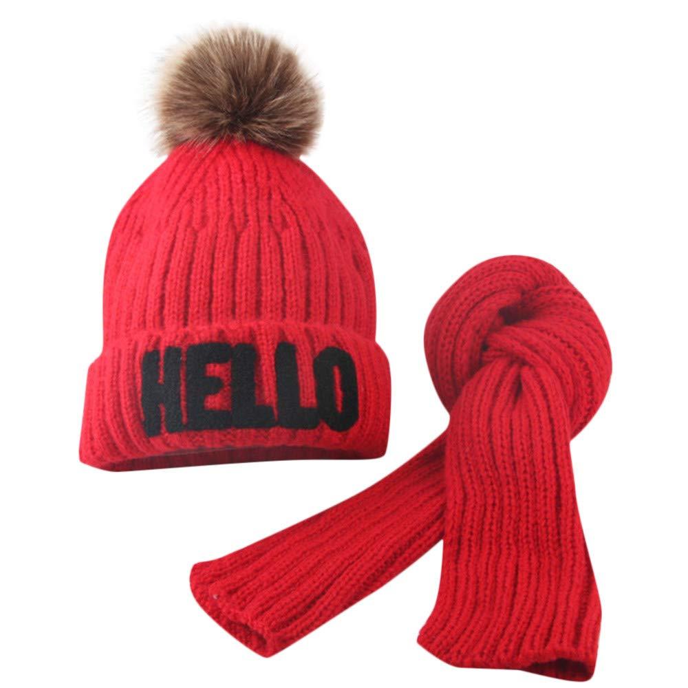 MuSheng(TM Écharpe de chapeau d'hiver pour bébé fille et garçon Ensemble de bonnet à tricot