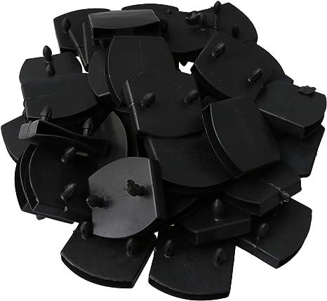 RDEXP 50 piezas de soporte de plástico de doble cabeza para tablero de cama 55 mm agujero interior negro