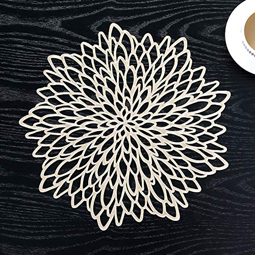 PRAVIVE 10 Pack Pressed Vinyl Metallic Placemats/Charger/Wedding Accent Centerpiece (10 pcs, Round Gold Leaf)