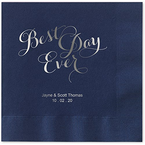 (Best Day Ever Personalized Beverage Cocktail Napkins - Canopy Street - 100 Custom Printed Navy Blue Paper Napkins with choice of foil)