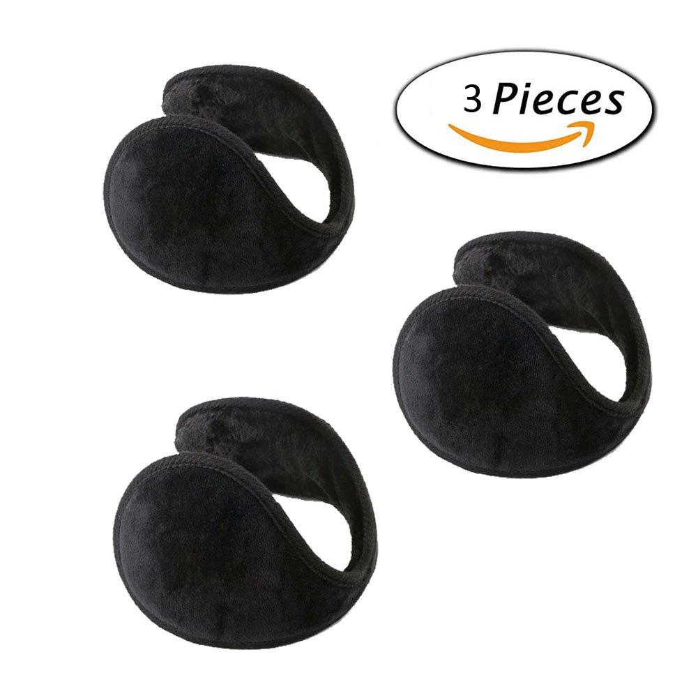Neaer 3 Pcs With Velvet Ear Muffs Ear Warmers - Behind the Head Style Winter Earmuffs for Men & Women