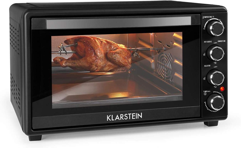 KLARSTEIN Masterchef 45 Mini Horno - 45 litros, 2000 W, temperatura: 100-230 °C, asador giratorio, función de circulación de aire, temporizador, puerta de doble cristal, acero inoxidable, negro