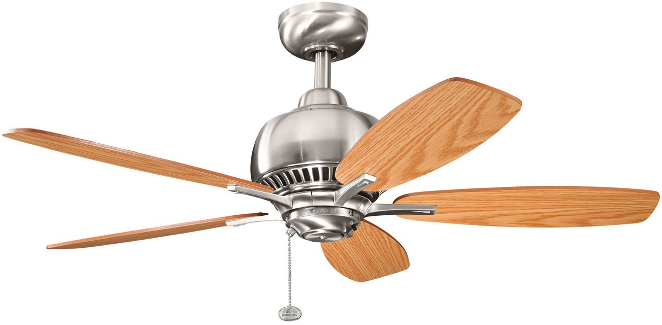 KICHLER 300123BSS Flush Mount, 5 Light Oak Medium Oak Blades Ceiling fan, Brushed Stainless Steel