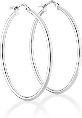 18K WHITE GOLD ROUND CIRCLE HOOP EARRINGS DIAMETER 15 MM x 1 MM MADE IN ITALY