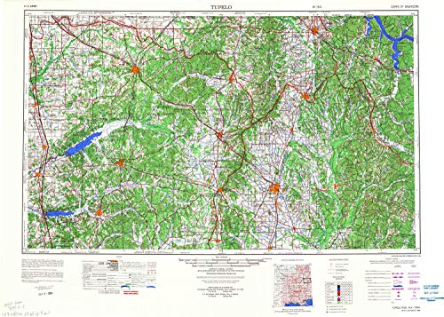 YellowMaps Tupelo MS topo map, 1:250000 Scale, 1 X 2 Degree, Historical, 1984, Updated 1984, 23.8 x 33.3 in - Tyvek
