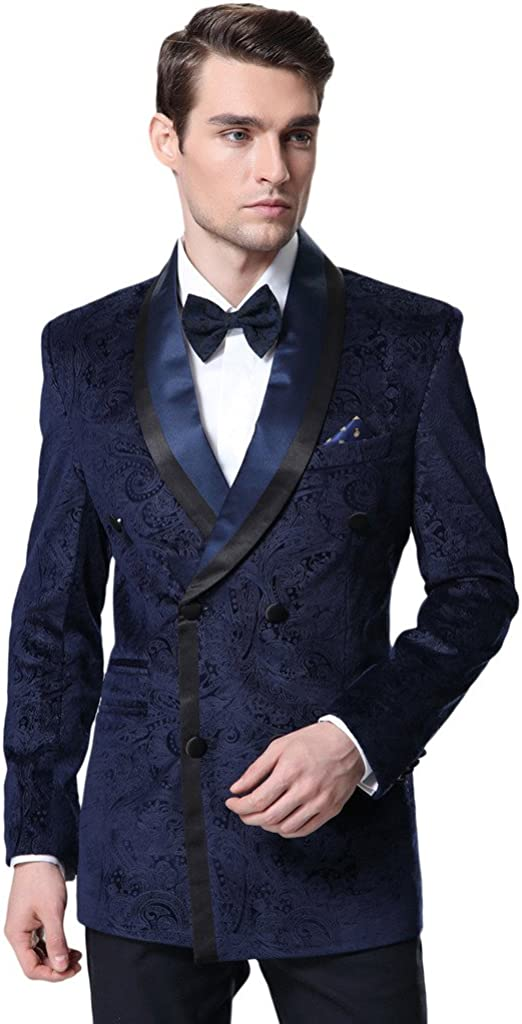 Hanayome Mens 2 Pieces Fashion Double Breasted Tuxedo Blazer Suits Pants D367