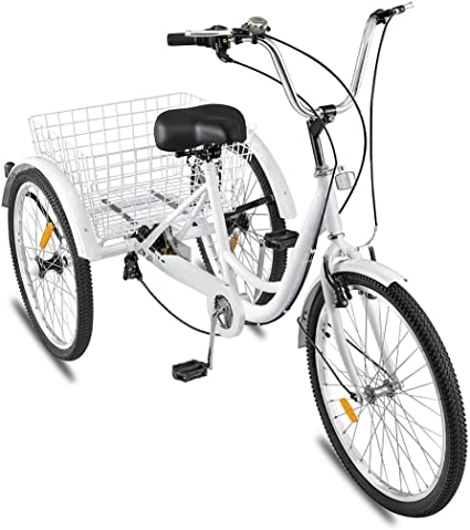 US Stock Baohooya Adult Trike 24-Inch Wheels with Shopping Basket Adult Tricycles 7 Speed Three-Wheeled Bicycles for Seniors Women and Men Three Wheel Bike