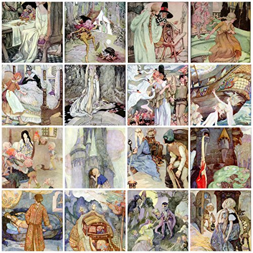(Anne Anderson Vintage Fairy Tale Tiles Collage Sheet #)