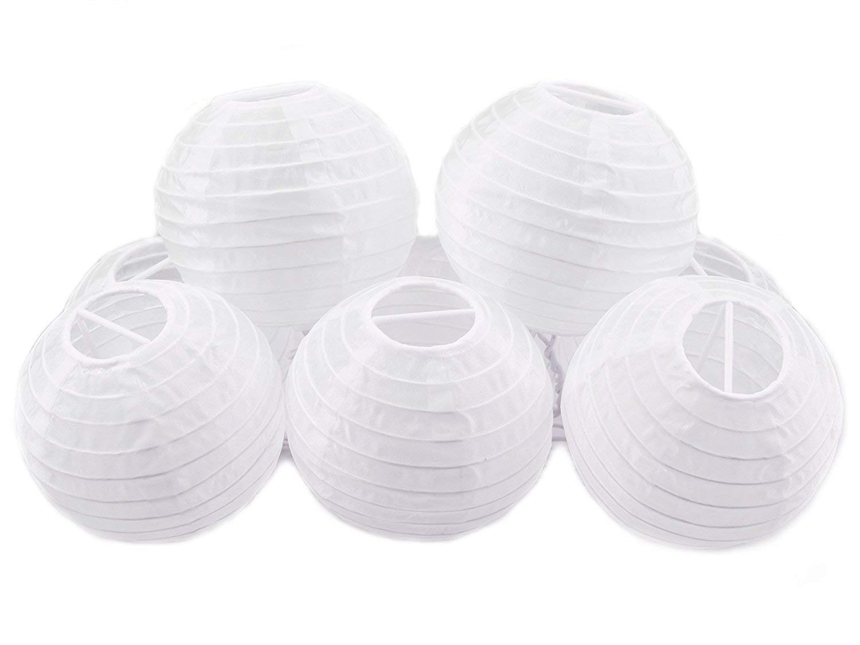 White Round Paper Lanterns, JRing 4'' White Chinese Japanese Mini Paper Lanterns for Weddings, Parties & Home Decor (24Pack)