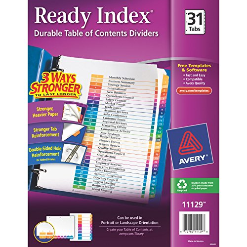 Avery Ready Index 31 Number Dividers, Printable Table of Contents, Multicolor Tabs, Case of 12 Sets  (11129)