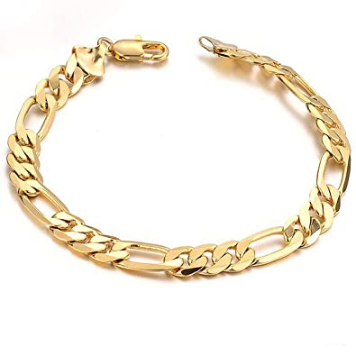 b64891f1f Image Unavailable. Image not available for. Color: Opk Jewelry18k Gold  Plated Powerful Men's Bracelet Figaro Link Chain ...