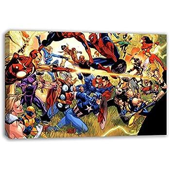 Merveilleux MARVEL DC COMIC SUPERHEROES CANVAS WALL ART (30u201d X 18u201d)