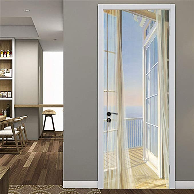 Pegatinas de puerta de puerta de madera de estilo industrial una variedad de estilos Pegatinas de puerta 3D adecuadas para dormitorio comedor-B_95x215cm: Amazon.es: Bricolaje y herramientas