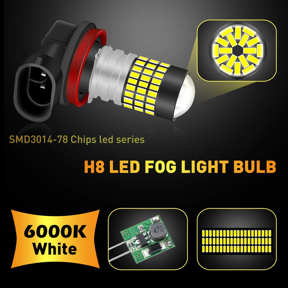 6500K,12-24V NATGIC 880 886 890 892 LED Bulbs Xenon White 1800LM 3014SMD 78-EX Chipsets with Lens Projector for Fog Light Daytime Running Light Automotive Driving Lamp 2-Pack