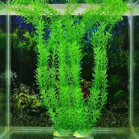 quanjucheer Decoración artificial para acuario, pecera, plástico, hierba verde, decoración de plantas