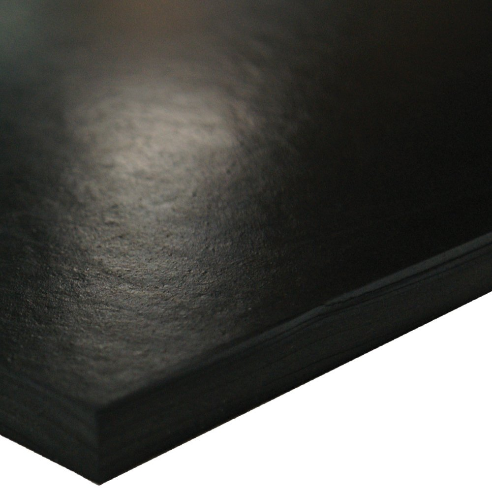 SBR (Styrene Butadiene Rubber) Sheet, 70 Shore A, Black, Smooth Finish, No Backing, 1/2'' Thickness, 36'' Width, 12'' Length