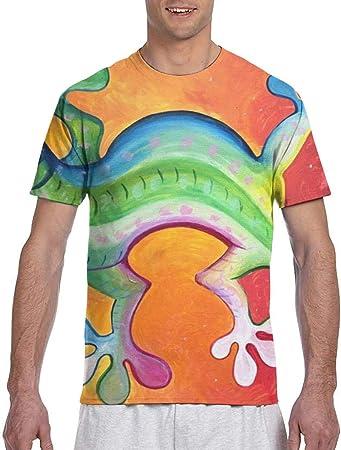 EricJohnston Pintura al óleo Gecko Camiseta de Manga Corta ...