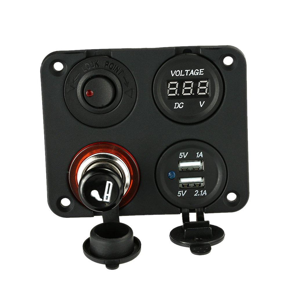 KKmoon Quattro Fori Pannello Base + Doppio Presa USB + Voltmetro Contatore + Presa Mentale con Accendisigari + Interruttore a Pulsante ON-OFF per Auto Camion Moto Barca per ATV