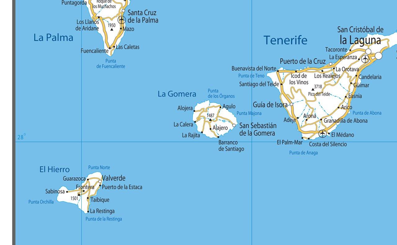 Islas Canarias hoja de ruta - Papel laminado [ga], color ...