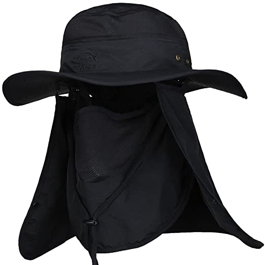 3404908d3c1 DDYOUTDOOR Summer Outdoor Sun Protection Fishing Cap Neck Face Flap Hat  Black